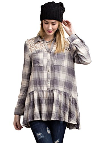 Plaid Ruffled Blouse (Easel Women's Gauzy Plaid Buttondown Shirt (Large, Taupe Grey))