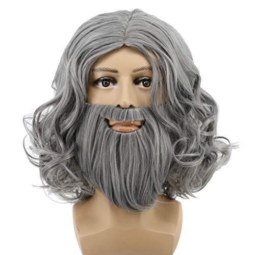 Yuehong Full Gray Wig and Beard Set Halloween Costume Hair Accessory Wigs -