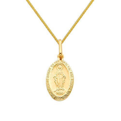 Wellingsale 14k Yellow Gold Polished Religious Miraculous Mary Medal Charm Pendant with 0.9mm Braided Wheat Chain Necklace - ()