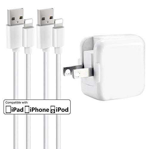 iPhone Charger iPad Charger,Baoota 2.4A 12W USB Wall Charger Foldable Portable Travel Plug and 2 Pack 8 Pin Charging Cable Compatible with iPhone,iPad (Charger Apple Ipad Approved)