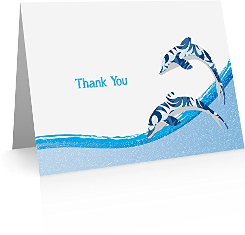Dolphin Thank You Cards (24 Foldover Cards and Envelopes) Dolphin Cards]()