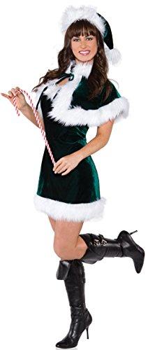 Green Santa Dress (Underwraps Women's Jingle, Green/White,)