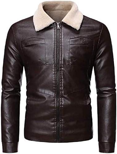 Yusaip Men Faux Pu Jacket Faux Fur Collar Thicken Fleece Lined Moto Biker Coat Jacket