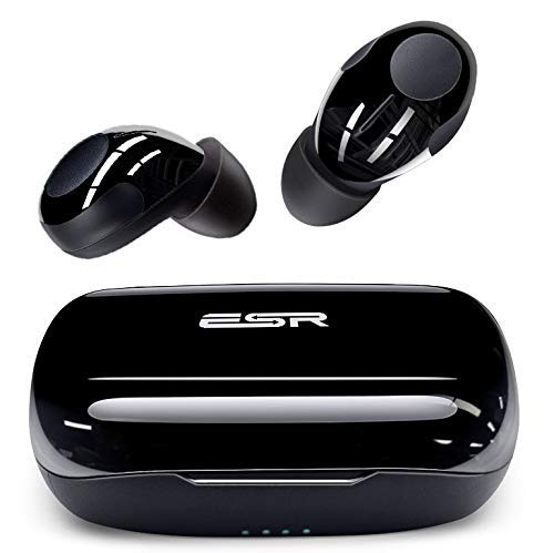 ESR Mini Wireless Bluetooth 5.0 Earbuds, Noise-Cancelling Bluetooth Headphones with Microphone, IPX5, TWS Stereo Earphones, 9HR Battery Life, with USB-C Portable Charging Case (Black)
