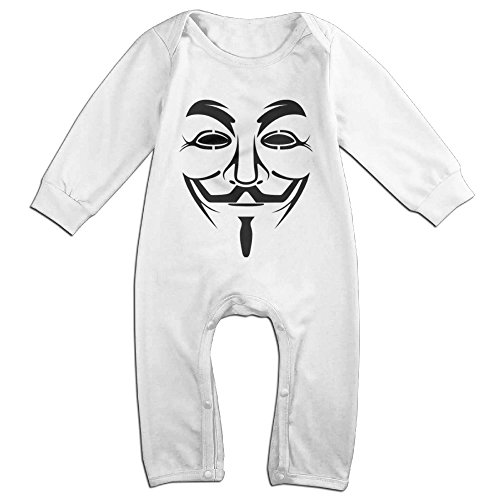 V For Vendetta Couples Costumes (NCACA Newborn Babys Boy's & Girl's Vendetta 66 Long Sleeve Bodysuit Outfits For 6-24 Months White Size 12 Months)