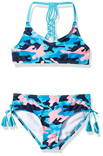 Kanu Surf Big Girls' Willow V-Neck Bikini Beach Sport 2-Piece Swimsuit, Erin Navy Camo, 7