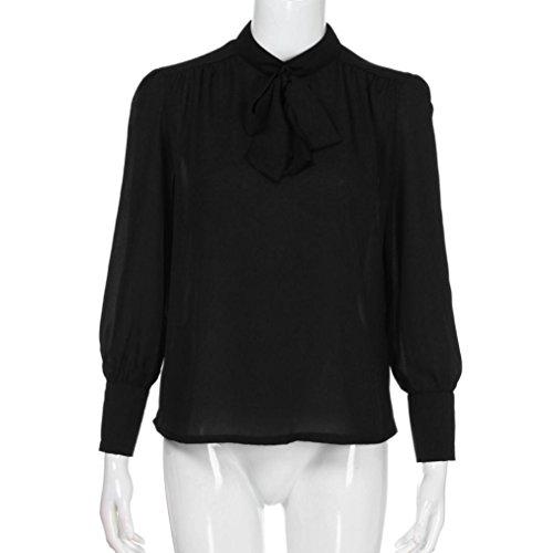 Top Soie Chemisier Bonjouree T Longue Manche B Tunique Shirt Blouse V Noir de Chic Fluide Haut Chemise Femme Col Mousseline zd8Cwqxd
