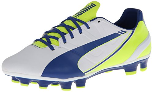 PUMA Women's Evo Speed 3.3 Firm Ground Soccer Shoe,White/Snorkel Blue/Fluorescent Yellow,8 B US by PUMA (Image #1)