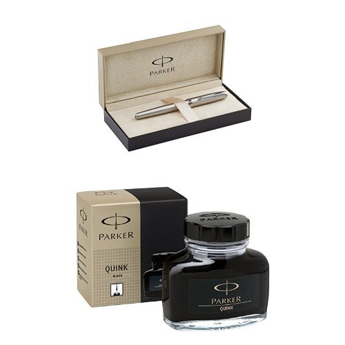 PARKER Sonnet Stainless Steel with Chrome Colour Trim Starter Bundle: Fountain Pen (medium nib) with converter + PARKER Super Quink Black ink bottle (Ink Bottle Black Sanford)