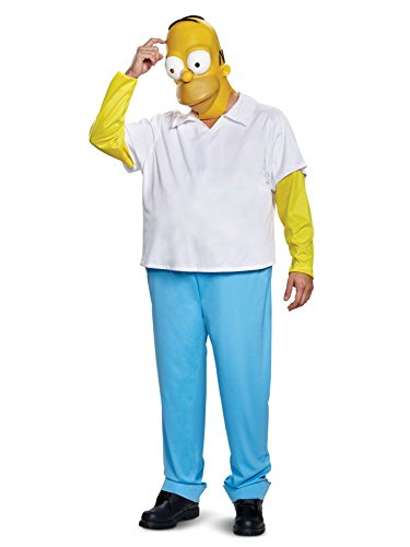 Simpson Halloween Costume (Disguise Men's New Homer Deluxe Adult Costume, White, L/XL)