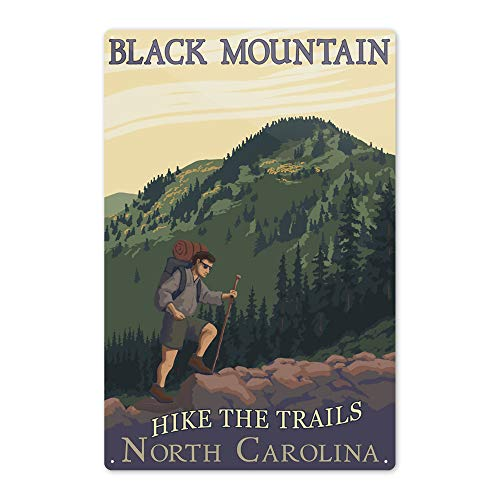 Lantern Press Black Mountain, North Carolina - Hike The Trails - Hiker and Mountain 55140 (6x9 Aluminum Wall Sign, Wall Decor Ready to Hang)