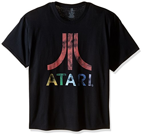 Atari Mens Big-Tall Classic Colorful Logo T-Shirt, Black, 5X-Large
