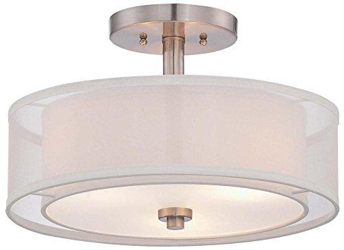 Minka Lavery 4107-84 3-Light Parsons Studio Semi Flush, Brushed Nickel Finish (19 Semi Flush)