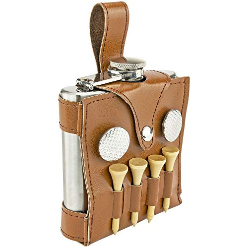 Fairly Odd Novelties FON-10314 THE Everything You Need Set 6oz Flask Spot Markers Hardwood Golf Tees Divot Tool Excellent Father's Day Dad Gift, Brown
