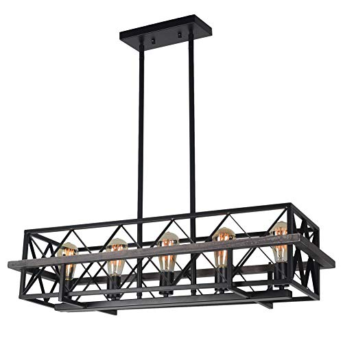 Baiwaiz Farmhouse Kitchen Island Lighting, Black Metal and Wood Dining Room Chandelier Light Rustic Rectangle Chandelier Light Fixture 5 Lights Edison E26 - Kitchen 093