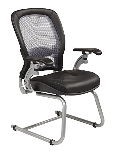 SPACE Seating Air Grid Back with Leather Seat Visitors Chair, Black