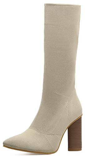 Easemax Women's Elegant Pointed Toe Chunky High Heel Pull On Mid Calf Booties apricot 3A00CSxUq