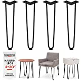 Heavy Duty Metal Coffee Table Legs with Screws and Hairpin Leg Protector Included - 4 Piece Set - Pre-Drilled Holes for Easy Installation - Add Mid Century Modern Flair to Your Home (20'')