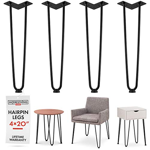 Heavy Duty Metal Coffee Table Legs with Screws and Hairpin Leg Protector Included - 4 Piece Set - Pre-Drilled Holes for Easy Installation - Add Mid Century Modern Flair to Your Home (20'') by INTERESTHING home (Image #8)