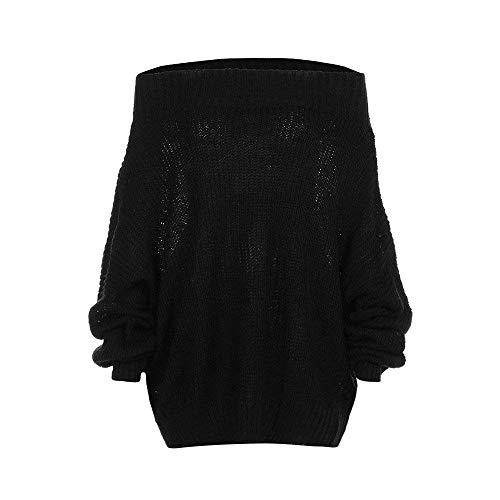 Sólido Top De Linterna Tamaño Larga Manga Mujer M Los Negro Mujer En Sudadera Hombros Camiseta 2 color Para Suéter Jersey 2 Camisetas Punto Moda Blusa nOBxZ6xYqw