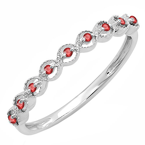 Dazzlingrock Collection Sterling Silver Round Ruby Ladies Anniversary Wedding Stackable Band Ring, Size 7.5 ()