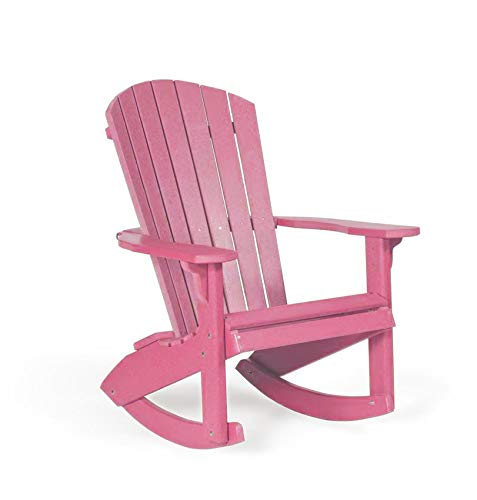 Leisure Lawns Fan-Back Adirondack Rocker, Recycled Plastic (Pink)