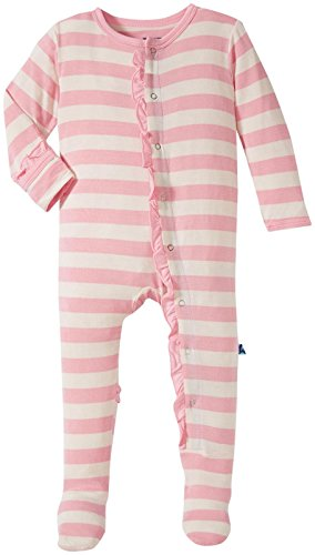 Kickee Pants Girls' Baby Footie, Lotus Stripe, 3-6 - Stripe Girls Pant