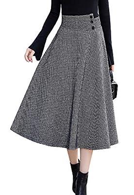 chouyatou Women's Mid-Calf A-Line Pleated Long Houndstooth Wool Skater Skirt