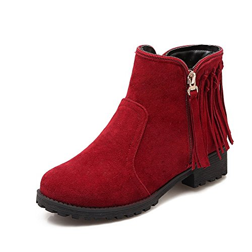 WeiPoot Women's Solid Frosted Low Heels Zipper Round Closed Toe Boots, Red, (Low Priced Boots)