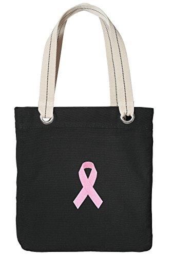 Pink Ribbon Tote Bag RICH COTTON CANVAS Pink Ribbon Bags Black