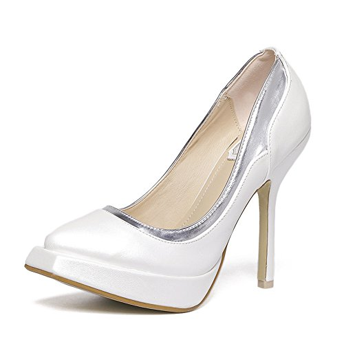 fereshte Women's Stylish Patent Leather Platform Stable Stiletto High Heels Square-Toe Pumps White Silver sgrlwap