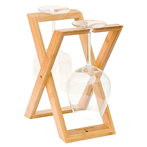 Hangover Bamboo Wine Glass Drying Rack, Foldable Countertop Stemware Drying and Display Rack