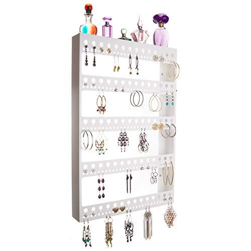 Angelynn's Large Earring Holder Organizer Wall Mount Hanging Closet Jewelry Storage Rack Floating Shelf, Nichole White ()