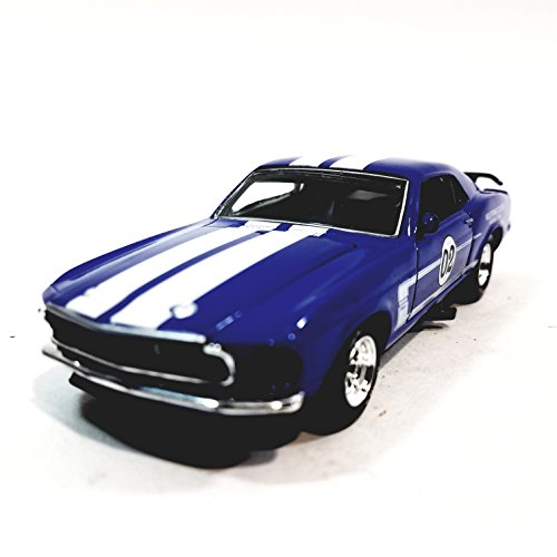 Metallic Team Platinum Series Ford 1969 Blue & White Stripes Boss Mustang 302 Racing Team 1/36 Scale Diecast - 1969 Ford Mustang Boss 302