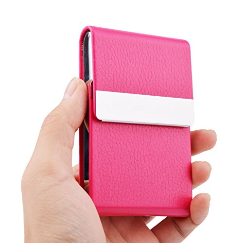 Card Holder Business Case Leather (MaxGear Leather Business Card Holder for Women Leather Stainless Steel Business Card Case with Magnetic Shut Rose Red)