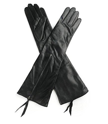 Ambesi Women's Fleece Lined Opera Long Lambskin Leather Winter Gloves Black M