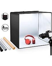 ESDDI Light Box Adjustable Brightness Photo Studio 20 Inch Hook & Loop Portable Folding 120 LED Lights Professional Booth Table Top Photography Lighting Kit 4 Colors Backdrop