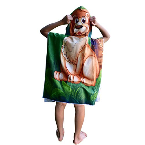 Hooded Bath Beach Towel Set- Lion Super Soft for Baby,Boys,Girls,Toddlers. Comes with a Story Book, Great for Pool Swimming Coverup, Ponchos, Robes or Capes, 1-7 Years kid