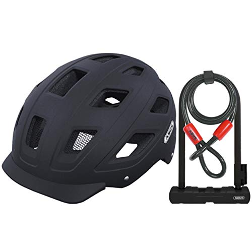 (ABUS Hyban Urban Bike Helmet (Velvet Matte Black, Medium) 410 Ultra U-Lock and Cable Lock Bundle | CPSC Certified Helmet with Integrated LED Tail Light)