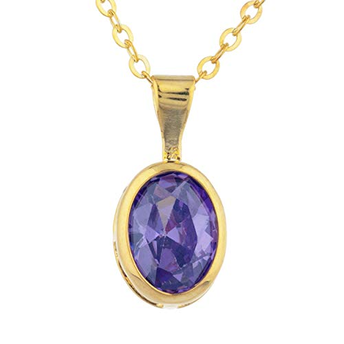 - 1.5 Ct CZ Amethyst Oval Bezel Pendant Necklace 14Kt Yellow Gold Rose Gold Silver
