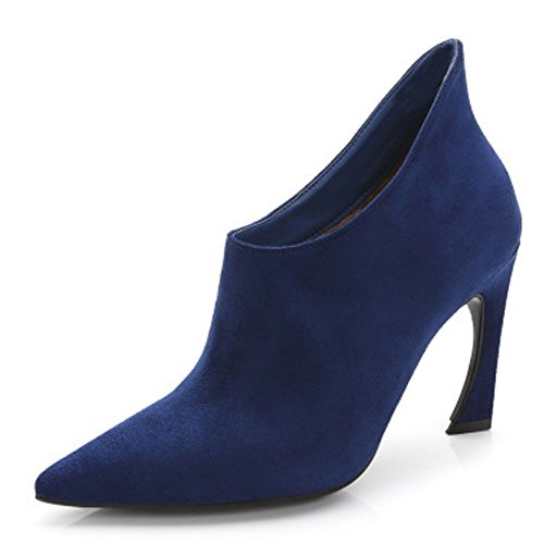 Fereshte Fashion Sweety Pekade Tå Mocka All Matchade Boots Blue