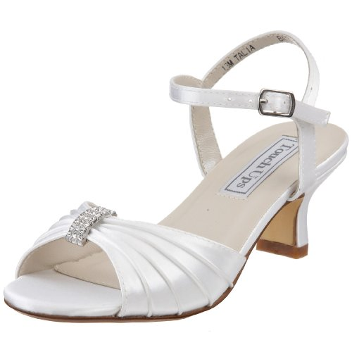 Youth White Satin (Touch Ups Little Kid/Big Kid Talia Ankle-Wrap Sandal,White,12.5 M US Little Kid)