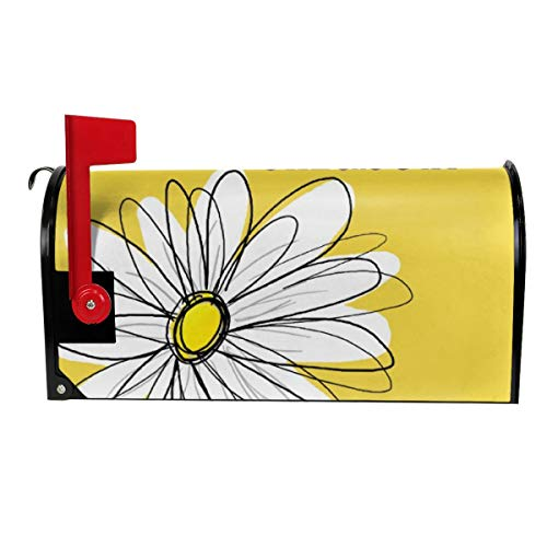 - Milyla-ltd Yellow and White Whimsical Daisy with Custom Text Decorative Magnetic Mailbox Cover Letter Post Box Cover Wrap Standard Size 21