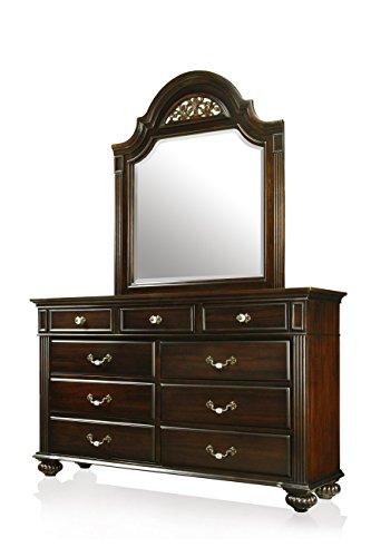 HOMES: Inside + Out ioHOMES Malierd Transitional Dresser and Mirror Set, Dark Walnut - Walnut Dresser Mirror