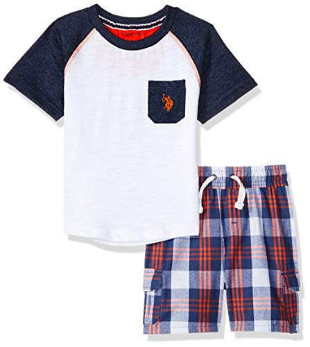 U.S. Polo Assn. Boys' Toddler Sleeve T-Shirt and Pull-On Short, Orange Multi Plaid, -