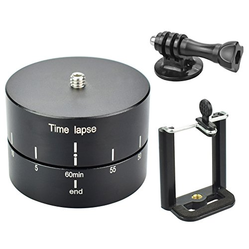 Lifeengine Rotating Tripod Time Lapse Stabilizer 360° 60 Minutes, Motorized Rotating Station Time Lapse Adapter for GoPro, SLR Camera, Digital Camera, Smartphone (Include GoPro Adapter, Phone Clip))
