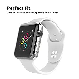 Apple Watch Full TPU Clear Case Series 1, 2 & 3 W/ Screen Protector Built in Corner & Edge Protection Bumper Slim Skin [Watch Gel Cover] Protective Case Shockproof Thin Accessories (38mm)