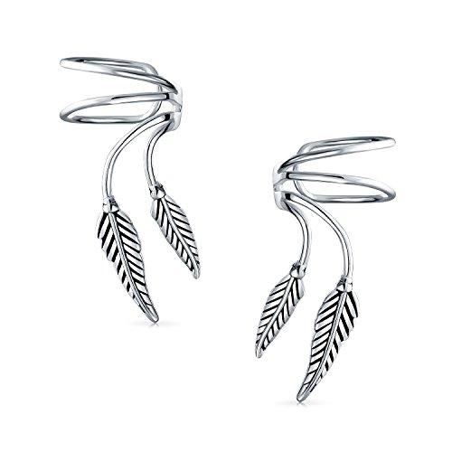- 2 Leaf Feather Cartilage Ear Cuffs Clip Wrap Wire Earrings Helix For Women For Men Non Pierced Ear 925 Sterling Silver