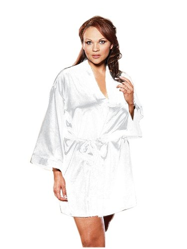 Dreamgirl Women's Plus-Size Shalimar Charmeuse Chemise with Robe and Padded Hanger,3X/4X,