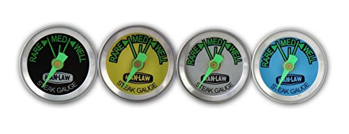 (MAN LAW BBQ Stainless Steel Steak Gauge Thermometer with Glow-in-the-Dark Dial, Set of 4)